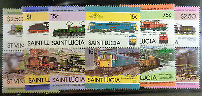 TRAINS LOCOMOTIVES - ST LUCIA & ST VINCENT	$14.10 XCD face value (=$5.22 US) MNH