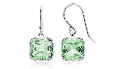NEW 3.5 Ct Cushion Cut Green Amethyst Drop Earring 925 Sterling Silver $75