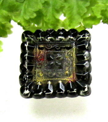 Antique Square Lacy Glass Button Black W/ Red & Yellow Colors V69