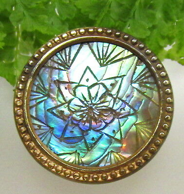 Colorful Victorian Mosaic Pearl / Abalone Button W/ Double Stars V78