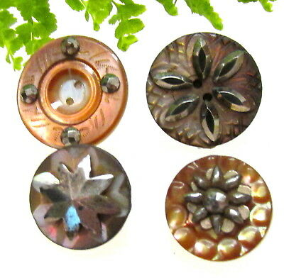 4 Sparkly Victorian Carved Pearl Buttons With Cut Steels V21