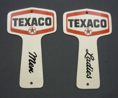Pair of Vintage Original NOS Texaco Men's & Ladies Restroom Key Tags Fobs