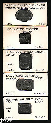 Scotland. Group of 5 different COMMUNION Tokens. 1755 - 1855, in Lead