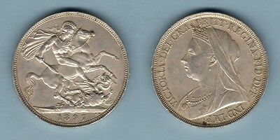 Great Britain.  1897 - LXI Crown..  Much Lustre..  aEF/EF