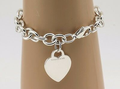Silver Tiffany & Co. Heart Tag Charm Bracelet Sterling