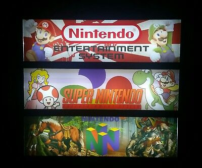 Nintendo Systems Marquee Lightbox Sign w/ 8 Bit, SNES, N64 Hyperspin Decor