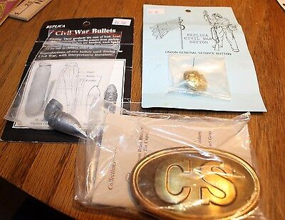 New in package Replica Civil War Button, Bullets &n Belt Buckle