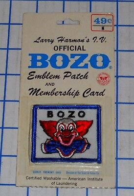 Larry Harmon's TV Official BOZO The Clown Cloth Emblem Patch on Card