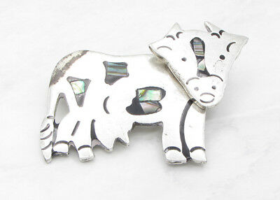 925 Sterling Silver- MEXICO Vintage Antique Finish Nacre Cow Brooch Pin 18g