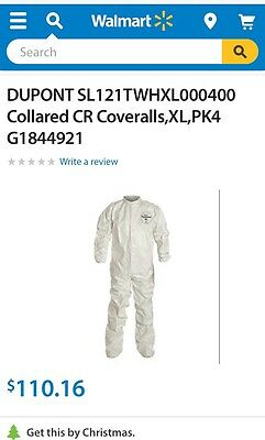 Chemical Suit DuPontCollared CR Coveralls, XL, PK4