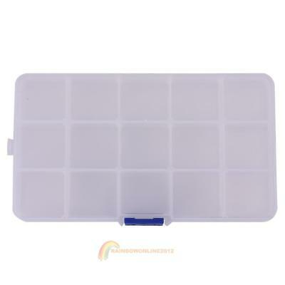 Transparent 15 Movable Compartments DIY Fishing Lure Storage Tackle Box Case