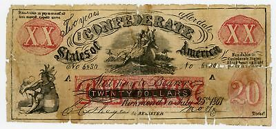 """1861 XX-1 $20 """"FEMALE RIDING DEER"""" C.S.A. Fantasy Note - NO RESERVE!"""
