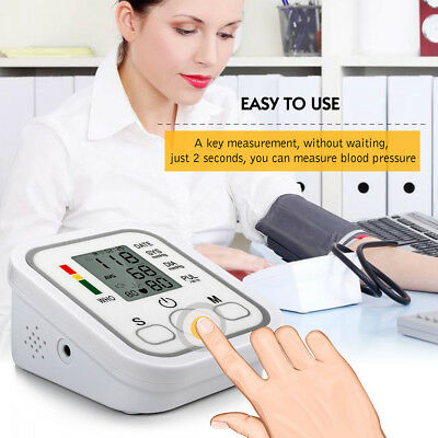 Digital LCD Arm Blood Pressure Pulse Monitor Health Care Upper Sphygmomanometer