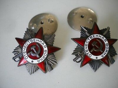 2 Soviet Orders Of The Patriotic War WW2 1 and 2 class
