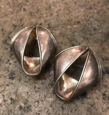 Pineda? Taxco Mexico Artisan Modern Sterling Silver Folded Curved Post Earrings