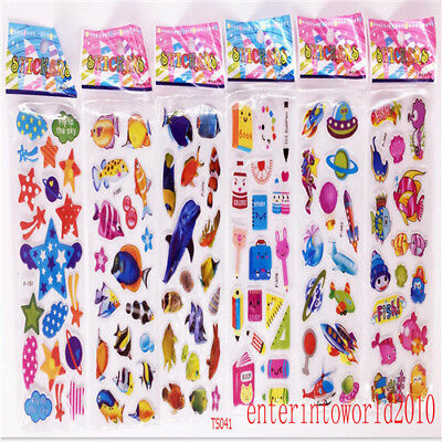 6pcs PVC stickers lot Sea animals&UFO teacher reward Kids craft Party Gifts hot
