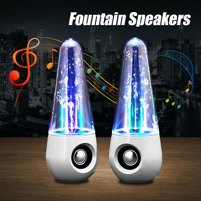 2pcs LED Dancing Water Speakers Show Music Fountain Stereo for Phone Computer