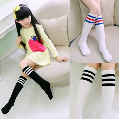 3-8Y Kids Toddler Girls Knee High Soccer Rugby Sports Tube Socks Stockings Hot