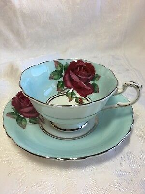 Vintage Paragon Cup & Saucer Large Red Roses signed R. JOHNSON - Display Only