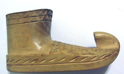 Yugoslavia Yugoslavian Chip Carved Wood Boot Match Holder Or ?? Vintage