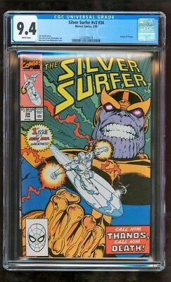 Cgc 9.4 Silver Surfer #v3 #34 Marvel Comics 2/1990 Return Of Thanos
