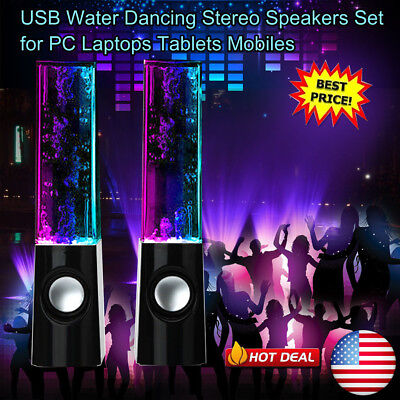 2Pcs Stereo Music Led Dancing Water Fountain Light Speakers For Ipad Iphone Pc