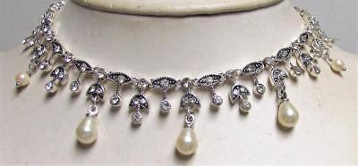 Vintage 80's Flower Enamel Glass Crystal Rhinestone Collar Necklace Signed Monet