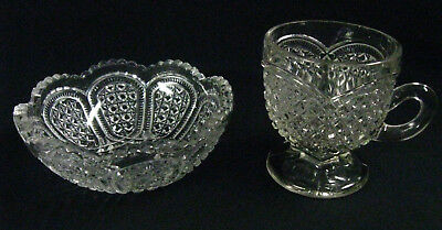 """Antique Victorian 1890s Greentown """"Austrian"""" Pattern Glass Punch Cup & Bowl"""