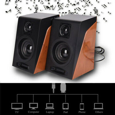 2pcs USB Power Wired Computer Speakers Stereo Audio 3.5mm for Desktop Laptop