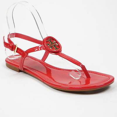 6642b0ac3480 New  225 Tory Burch 51 2 Dillan Ruby Orange Gold Logo Patent Leather Flat