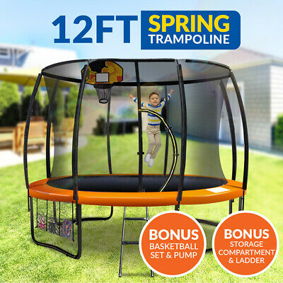 12ft Trampoline Basketball kit Free Ladder Spring Net Safety Pad Cover Round