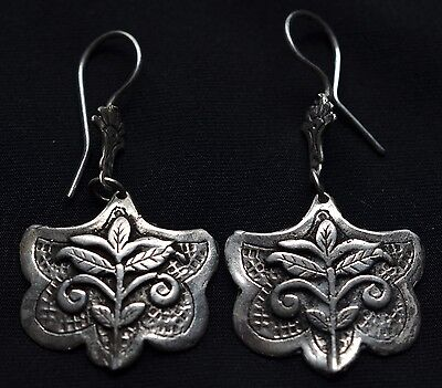 Mexican Taxco Jewelry .925 Sterling Silver Hoops Earrings Floral Solid Style Vtg
