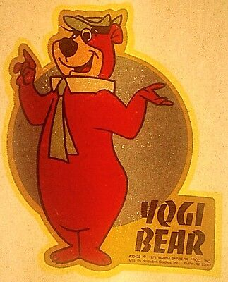 Vintage 1976 Hanna Barbara Yogi Bear Iron-On Transfer RARE!