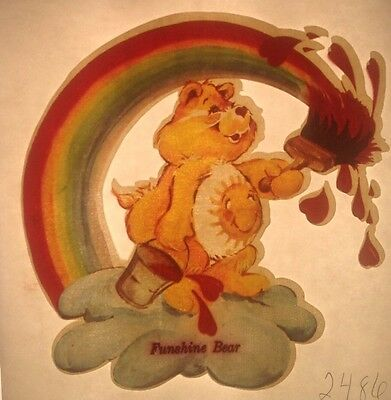 Vintage 70s Care Bears Funshine Bear Iron-On Transfer Rainbow Painter RARE!