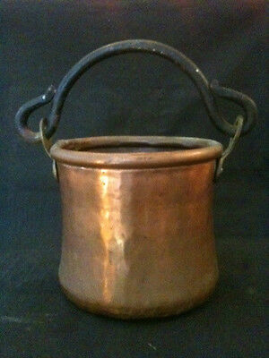 """COPPER w/ WROUGHT IRON SWING HANDLE 5 1/2"""" DIA x 5"""" TALL CAMP BILLY PAIL BUCKET"""