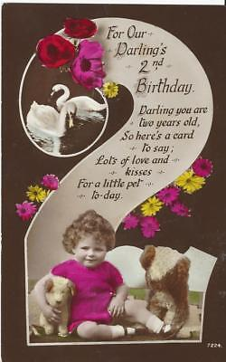 Age Number Two - Little Girl  With Swans,toy Stuffed Dogs 1937 Rp Postcard