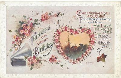 Thinking Of Your Birthday - Old Fashioned Wind Up Gramophone 1917 Postcard