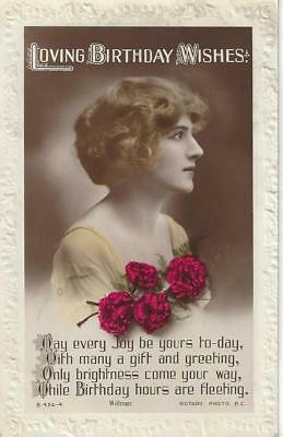 Glamour Lady With Beautiful Hair  Vintage Real Photo Postcard