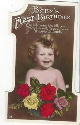 Babys First Birthday - No 1 Shape, Happy Smiling Child Real Photo Postcard