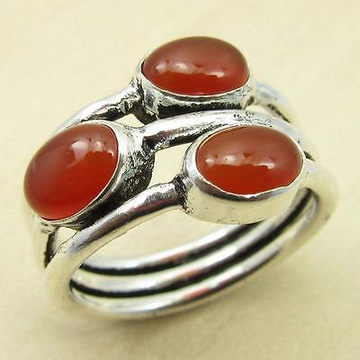 3 Gemset Ring, Fabulous CARNELIAN UNUSUAL Silver Plated Jewelry Size US 6 NEW