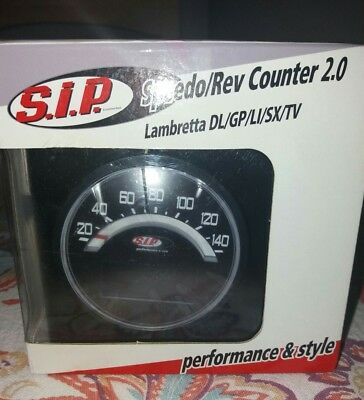 Lambretta sip speedo/rev counter series 2 black face. Brand new.