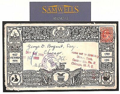 MS4013 1908 GB FIRST PENNY POSTAGE TO USA Illustrated FDC {Booth guide £250+}