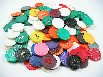 250 x Mixed Colour 4g Diamond Check Poker Chips - FOIL PRINT PRODUCTION REJECTS