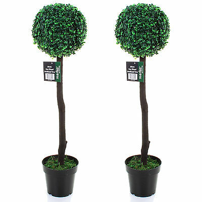 Pair of 80cm Artificial Box Wood Tree Indoor or Outdoor Decoration Ornament NEW