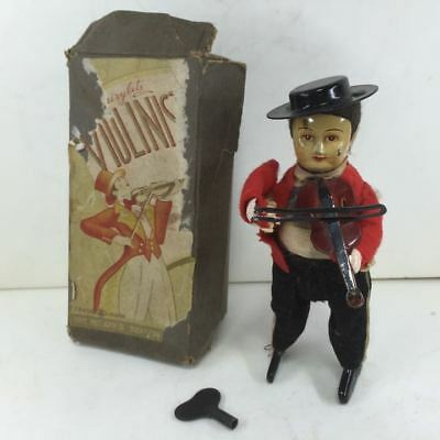 Pre war tin toys with violin playing box Spring spring movable Masuda shop F/S