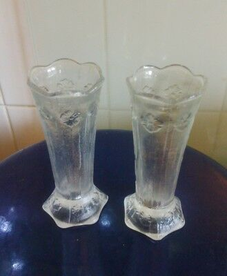 Pair of Vintage cut glass single stem vase lalique style Italian.