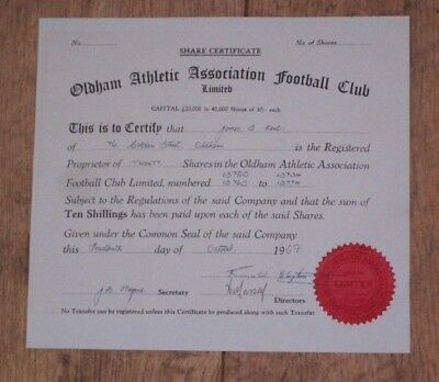 Oldham Athletic Old Share Certificate for 20 shares [Old Limited Company]