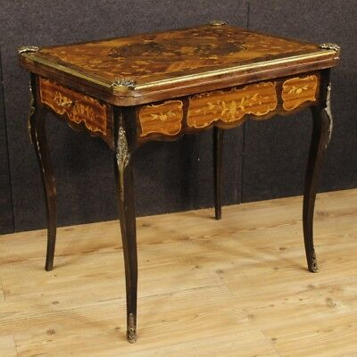 Inlaid game table wood furniture living room writing desk antique style bronze