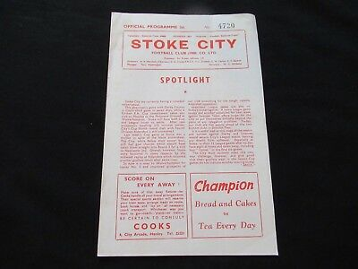 STOKE CITY V DERBY COUNTY 1960/61 Good+ Condition Football Programme