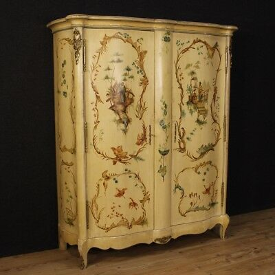 Closet french lacquered furniture wardrobe wood chinoiserie 2 panels